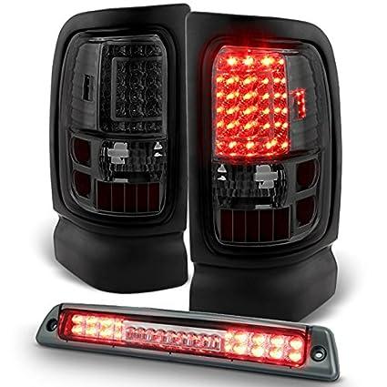 Dodge Ram Pickup Truck LED Smoked Tail Lights Replacement + Smoked LED 3rd  Brake Cargo Lamp