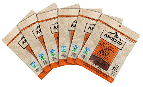 Ascend: Flavor of the West - Non GMO Jerky - Bold and Smokey BBQ - 3 oz. bags, Pack of 6