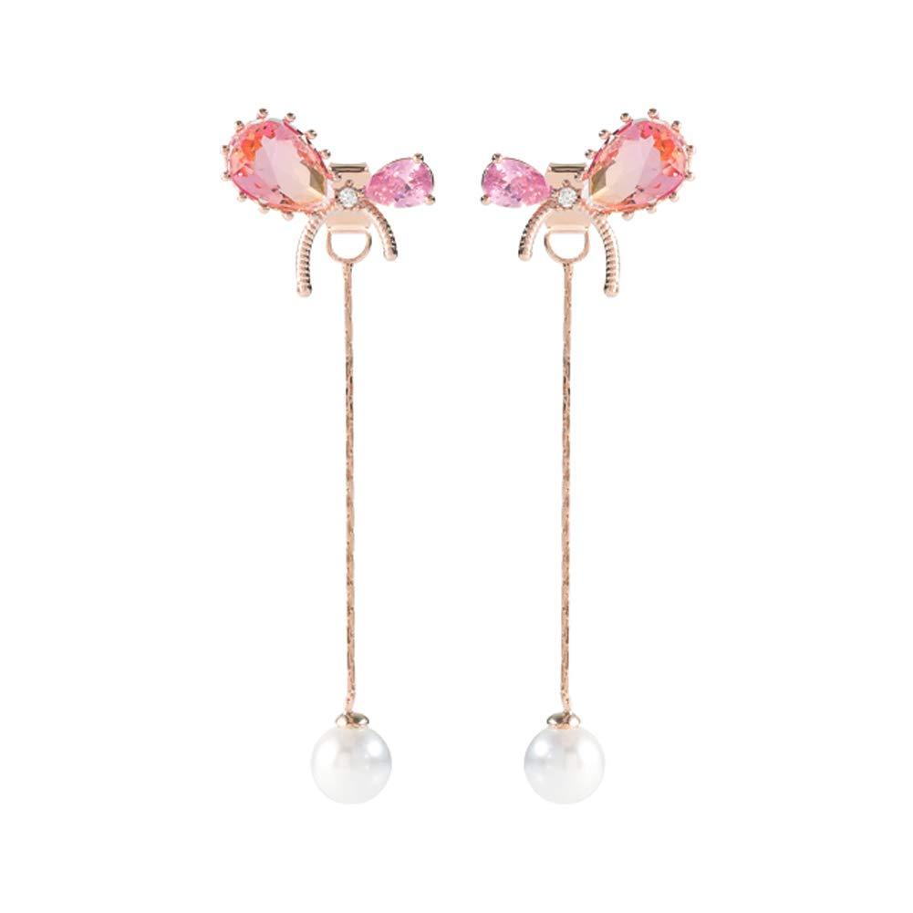 Ribbon Bow Front Back Pearl Drop Earrings for Woman Teen Girls