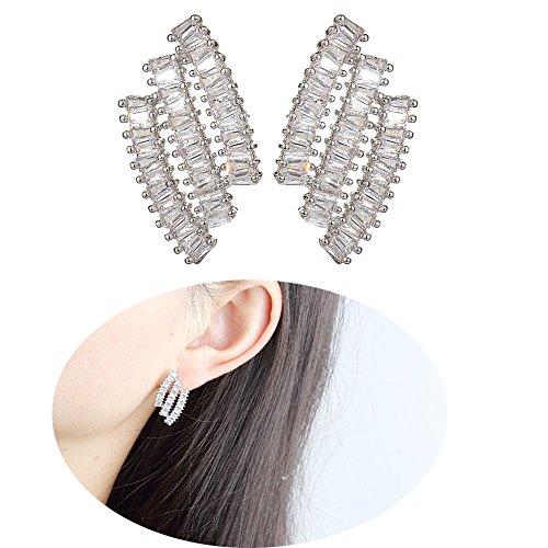 Sterling Silver Cubic Zirconia Geometric Stud Earrings Wedding Bridal Jewelry 18K White Gold
