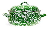 Enamelware - Green Swirl Pattern - Dutch Oven