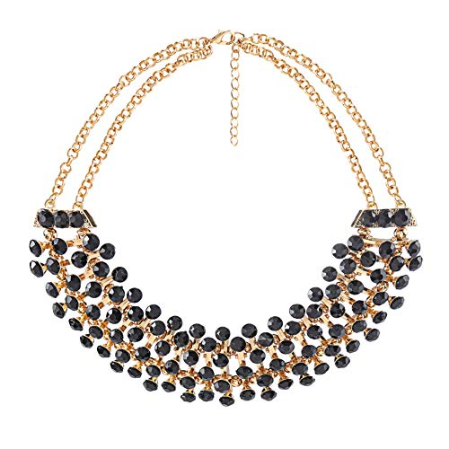 Radtengle Vintage Gold Tone Chain Bib Statement Necklace Wedding Costume Jewelry for Women