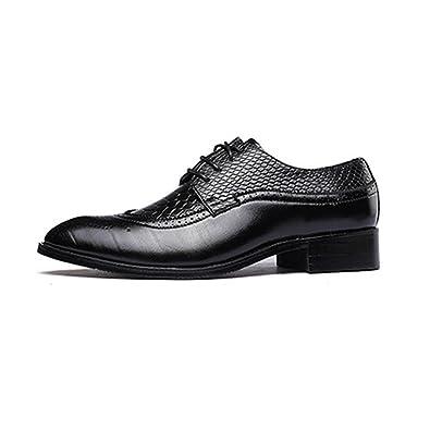 Ruanyi Formale Geschäfts-Schuhe der Männer, Glatte PU-Lederne Spleiß-Oberleder-Spitze Breathed gefütterte Oxfords (Farbe : Black, Size : 47 EU)