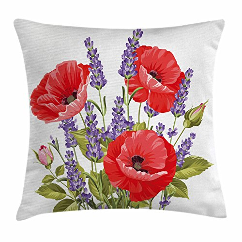 Ambesonne Lavender Throw Pillow Cushion Cover, Bunch of Lavender and Poppy Flowers Fresh Rustic Botanical Bouquet, Decorative Square Accent Pillow Case, 16 X 16 Inches, Red Violet Olive Green (Green Olive Violet)