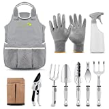 PEGZOS 10 Piece Garden Tools Set Gardening Tools with Garden Gloves, Gardener Apron and Garden Storage Tote, Gardening Fathers Day Gifts with Garden Trowel Pruners Clippers, Garden Hand Tools