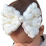 DZT1968(TM)Baby Girl Narrow Turban Headband Head Wrap Hair Band With Pearl Lace Bow (White)