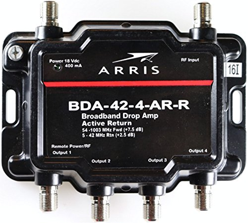 Arris 4-Port (Formerly Motorola K-4) Cable, Modem, TV, OTA, Satellite HDTV Amplifier Splitter Signal Booster with Active Return And Coax Cable Package - cableTVamps