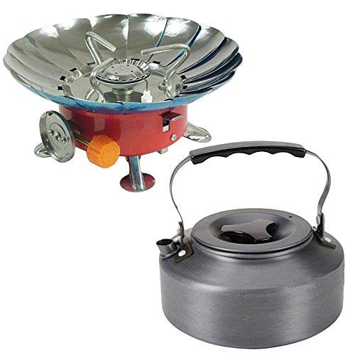 Cabezal de estufa de gas butano, tetera de agua de aluminio de 1,1 l ultraligera, portátil, plegable, estilo loto,...