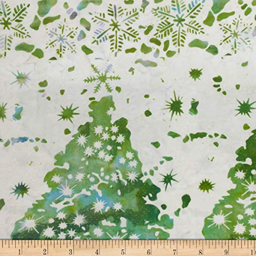Northcott Winter Light Frostbite Teal/Green Fabric by The Yard (Christmas Tree Batik)