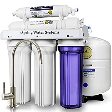 iSpring RCC7 5-Stage Residential Under-Sink Reverse Osmosis Water Filter System - WQA Gold Seal Certified, 75 GPD
