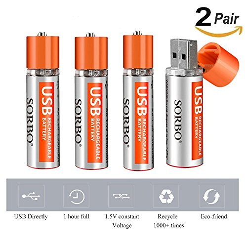 4Pcs USB Rechargeable AA Battery Sorbo 1.5V 1A 1 Hour Quick Charging Li-Po Battery 1200mAh for Toys,Remote Controller,Wireless Mouse, Keyboard and More