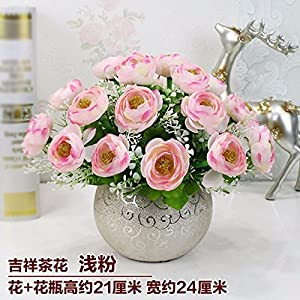 LighSCH Artificial Flowers Fake Bouquet Dining Table Plastic Camellia Pink White 15