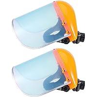TOPBATHY 2Pcs Safety Face Shield Anti-Spitting Full Face Shields Visor Anti-Fog Windproof Window with Headgear Grinding Cutting Face Shield (Orange)