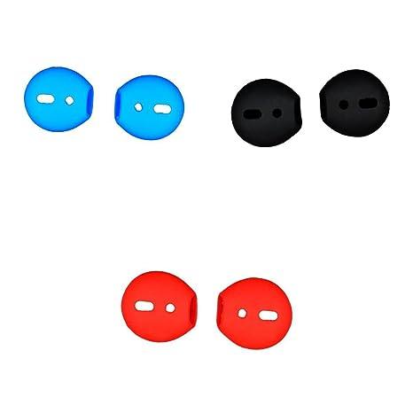 MagiDeal 3 Pares Auriculares de Silicona Eartips para Apple AirPods Earpods Rojo + Negro + Azul
