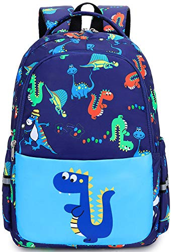 Toddler Backpack for Boys Little Kids Elementary Preschool Backpack kindergarten dinosaur School Book Bags with Chest Strap (Dinosaur Light Blue)
