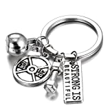 Gmai Fitness Gym Keyring with Quotes, Weight Plate, Dumbbell, and Kettlebell Exercise Bag Charm Pendant Keychain