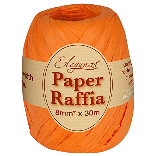 Eleganza 8 mm x 30 m Paper Raffia for Variety of Craft Projects and Gift Wrapping, No.04 Orange Oaktree UK 629998