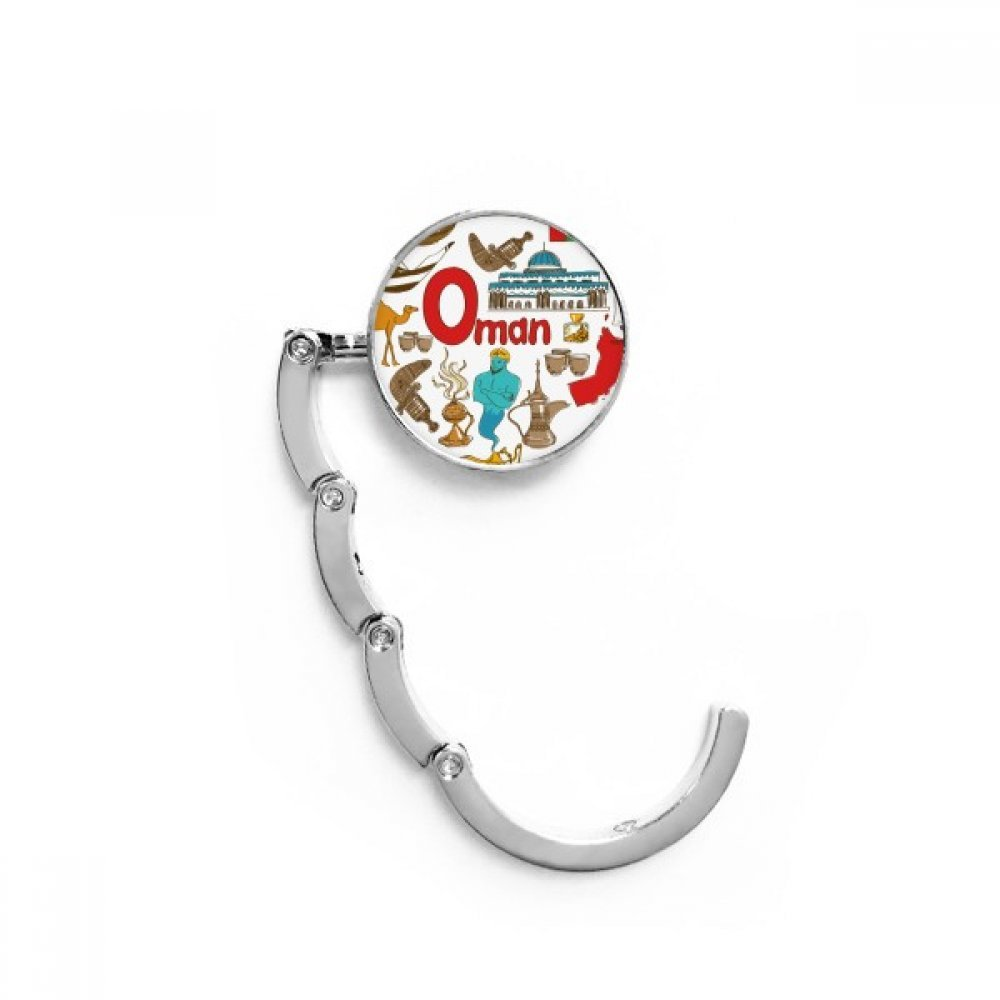 Oman Love Heart Landscap National Flag Table Hook Folding Bag Desk Hanger Foldable Holder