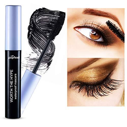 youul Waterproof Makeup Eyelash Long Curling Mascara Eye Lashes 4D Silk Fiber Lash Extension Mascara Black (Black)
