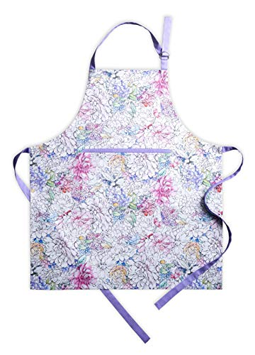 Maison d' Hermine Floral Love 100% Cotton Apron with an Adjustable Neck and Hidden Centre Pocket 27.5h by 31.5 Inch