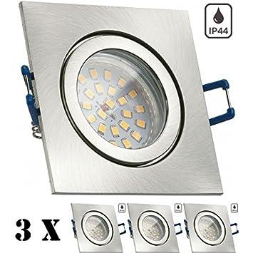 3er IP44 LED Einbaustrahler Set Silber Gebürstet Mit LED GU10  Markenstrahler Von LEDANDO   4,