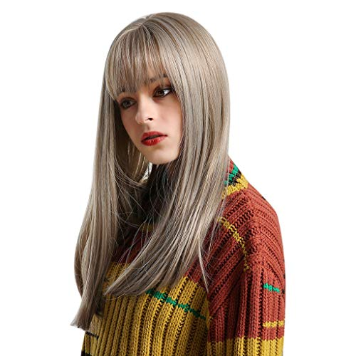 Jaromepower 22'' Brown Long Curly Ombre wig High Density Temperature Synthetic Wig For Women Cosplay Hair Wig with Bangs Wig, Natural Hair Long Wigs Straight Wig Lace Front Wigs