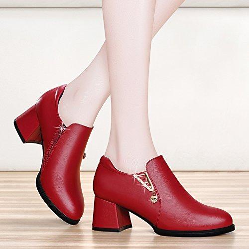 Mode Et L'Âge Cuir Chaussures Claret Les Femmes Talons Avec En Des Moyen Souliers De Chaussures L'Unique Mère Est Automne Chaussures Femmes KHSKX Les De Les 6qHxdq