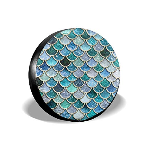 Art-Capital Spare Tire Cover Green Blue Mermaid Scales Wheel Covers Waterproof Durable Tire Covers Protector Universal Fit for Jeep Car Trailer RV SUV Truck Camper Van 14 15 16 17 Inch