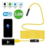 Newest Wireless Endoscope,5.6M Yellow WiFi Borescope Inspection Camera 2.0 Megapixels HD Snake Camera for Android and iOS Smartphone, iPhone, Samsung, Tablet