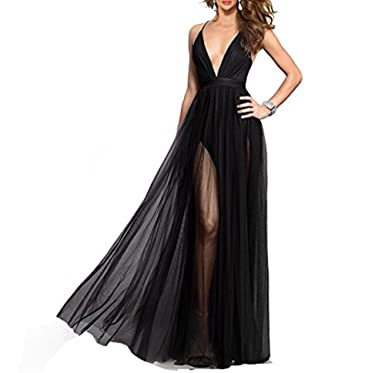 3fc5f44a3a Lnxianee Women s Deep V-Neck Tulle Prom Dresses Long Backless Formal Party  Evening Dress Black