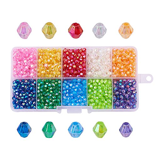 (PH PandaHall 1 Box (About 2500pcs) 10 Color Crystal Bicone Beads Faceted AcrylicBeads Assortment Lot for Jewelry Making)