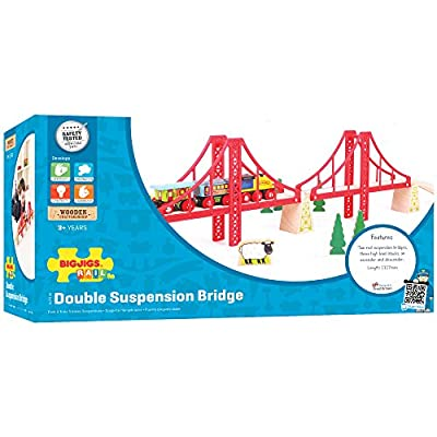 Bigjigs Rail Double Suspension Bridge - Other Major Wooden Rail Brands are Compatible: Toys & Games