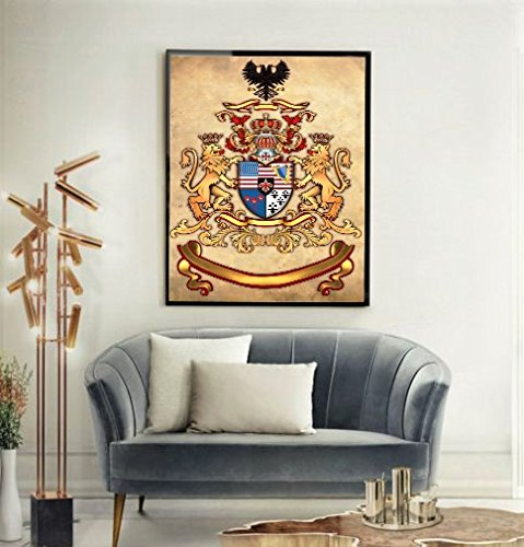 - LiveArtGifts Family Crest by, Accompanies with Certificate of Authenticity (COA), Limited Edition Print on Unique Materials (Velvet and thick fabric), Unfaded, w/o frame, w/o family name (27x35in)