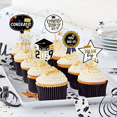 Graduation Cupcake Toppers(24 Pcs) Class of 2019 Cake Toppers For Graduation Party,Graduation Appetizer Dessert Decoration Picks,Congrats Grad Cake Toppers Decorations]()