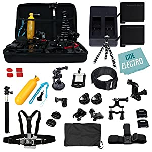 CDE Complete Kit for GoPro HERO6 / GoPro Hero5 Black: 2 Batteries +Charger +37pc accessory Kit. Outdoor HERO 6 Hero 5 Bundle: 2xBT +Charger +Head & Chest Strap +Grip +Tripod +Suction Cup &More
