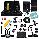 CDE Complete Kit for GoPro HERO6 GoPro Hero5 Black: 2 Batteries +Charger +37pc accessory Kit. Outdoor HERO 6 Hero 5 Bundle: 2xBT +Charger +Head & Chest Strap +Grip +Tripod +Suction Cup &More