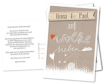 Schön 50 Hochzeitseinladungen Mit Namen Und Einladungstext   DRUCKSERVICE: AUF  WOLKE 7, Mit Individuellem Text