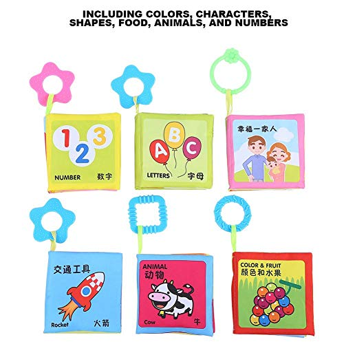 💕Romantic Valentine's Day💕 Infant Cloth Books, Leftwei Infant ClothBook Safe Infant Cloth Book, Durable Ring Paper Early Educational Colorful 6PCS for Baby(Cloth Book Set 235g)