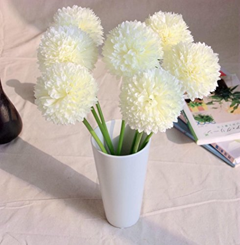 Iuhan 5pcs Lavender Ball Artificial Silk Flowers Bouquet Home Wedding Party Decor (White) (Pink Long Stem Vases)