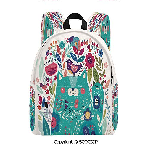 SCOCICI Cute Printed Leisure Backpack Student Bookbag(11.5