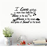 Hisau Quotes Art Decals Vinyl Removable Wall Stickers I Love You More Than There are Stars in The Sky Waves in The Ocean and Grains of Sond On The Beach for Living Room Bedroom