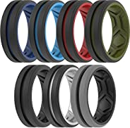 ThunderFit Silicone Wedding Rings Men, Breathable 2Layer Middle Engraved - 8.2mm Width 2.5mm Thick