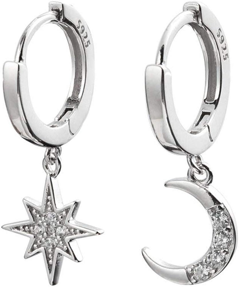 Pendientes de aro, diseño de estrella de puntas asimétricas y luna con circonitas, para chicas; aretes con abalorios de cristal, modernos y delicados, ideales para regalo de cumpleaños