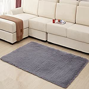 Hughapy home decorator modern shag area rugs for Living room rugs amazon