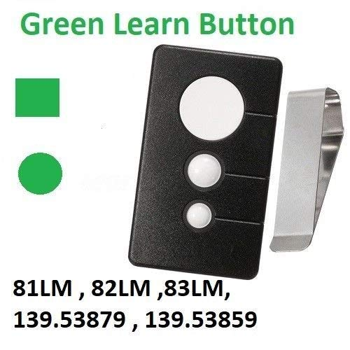 (Garage Door Opener Remote Transmitter Control for Sears Craftsman Chamberlain LiftMaster Includes Visor Clip Opener Keyless Entry Keypad Compatible Program for 139.53970SRT 390 MHZ Green Learn Button)