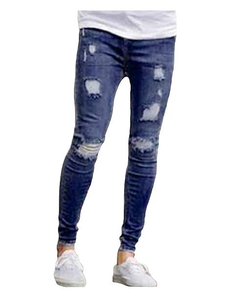 8362e919c9 Pantalones Vaqueros Rasgados Hombres Ajustados Slim Fit Pantalones Vaqueros  del Estiramiento Pantalones Cómodos del Ocio De La Vendimia Destruyeron Los  ...