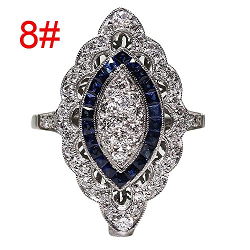 Haluoo Cubic Zirconia Ring Crystal Diamond Filled Solitaire Promise Ring Silver Plated Teardrop Ring Cocktail Engagement Wedding Band (8, Silver)