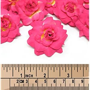 """(24) Silk Hot Pink Roses Flower Head - 1.75"""" - Artificial Flowers Heads Fabric Floral Supplies Wholesale Lot for Wedding Flowers Accessories Make Bridal Hair Clips Headbands Dress 3"""
