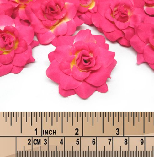 24-Silk-Hot-Pink-Roses-Flower-Head-175-Artificial-Flowers-Heads-Fabric-Floral-Supplies-Wholesale-Lot-for-Wedding-Flowers-Accessories-Make-Bridal-Hair-Clips-Headbands-Dress