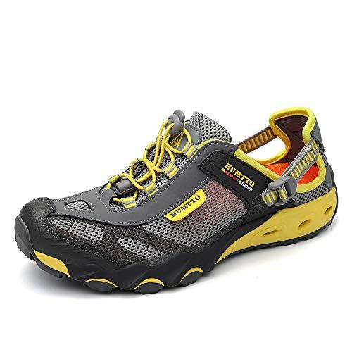 HUMTTO Mens Sport Strap Sandals-Hiking Canyoning aquatc Amphibious Sandal Fishing Beach Shoes MJ1605-Grey-8.5